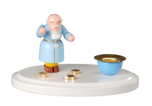 Weihnachtskerzenhalter Petrus, farbig, 11 cm hergestellt von Albin Preißler