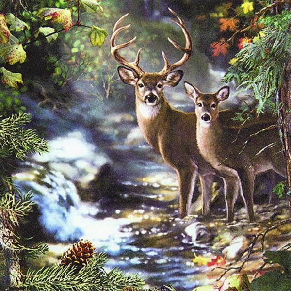 Weihnachtsservietten Deers on a Creek von Home Fashion®
