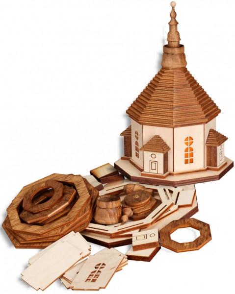 Bastelset Seiffener Kirche aus Holz zum selber basteln mit Beleuchtung