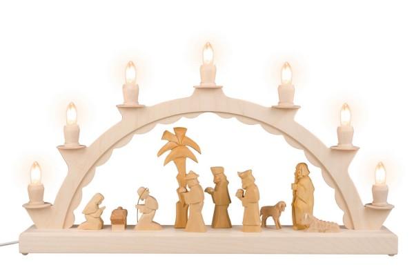 LED Schwibbogen von Nestler-Seiffen mit geschnitzter Heiliger Familie, 50 cm, elektrisch beleuchtet_Bild1