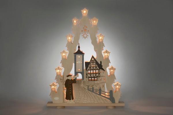 Schwibbogen & Lichterspitze Rothenburg ob der Tauber, 15 flammig, elektrisch beleuchtet, 52 x 67 x 4,5 cm von Weigla - Günter Gläser Deutschneudorf/ …