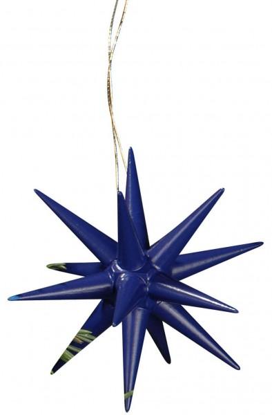Christbaumschmuck aus Holz, Weihnachtssterne dunkelblau, 6-teilig hergestellt von Albin Preißler_Bild1