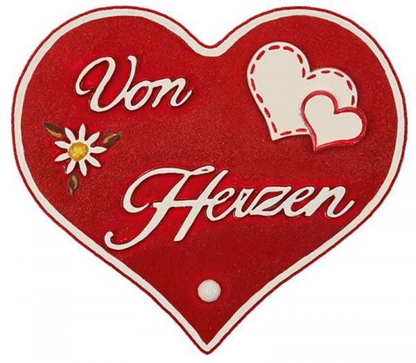 Magnetpin Herzen - Von Herzen, 7 cm von Hubrig Volkskunst Zschorlau/ Erzgebirge