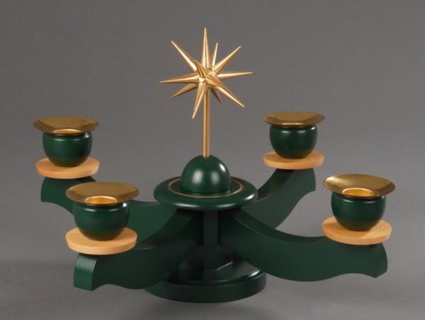 Adventsleuchter, grün - Weihnachtsstern, Adventsleuchter aus massivem Buchenholz, grün lackiert, Stern in Handarbeit gefertigt und bronzefarbig lackiert, …