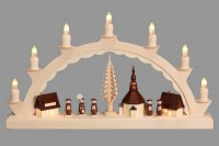 Vorschau: Schwibbogen mit dem Motiv Seiffener Dorf mit Kurrende, komplett elektrisch beleuchtet von Nestler-Seiffen_Bild3