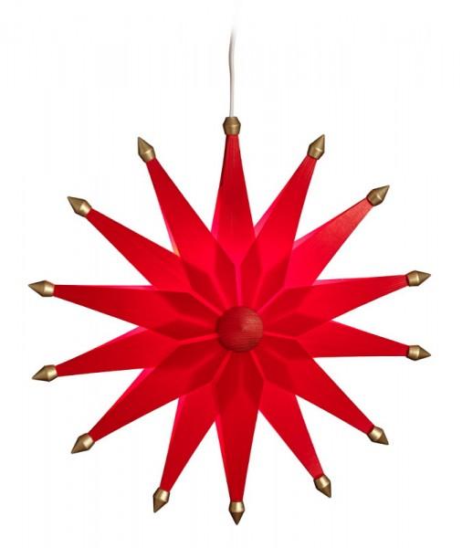 Weihnachtsstern doppelt, elektrisch beleuchtet, rot, 38 cm von Volkskunstwerkstatt Eckert aus Seiffen/ Erzgebirge