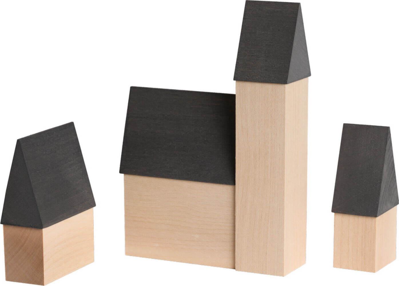 Stadthäuser, 3 - teilig von Seiffener Volkskunst eG