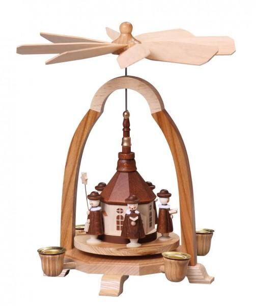 Weihnachtspyramide mit Seiffener Kirche, 24 cm von Thomas Preißler Seiffen/ Erzgebirge Höhe: ca. 24 cm Betrieb mit Pyramidenkerzen Material: heimische Hölzer, …