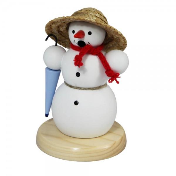 Räuchermännchen Schneemann mit Korbhut, 13 cm von Volker Zenker aus Seiffen