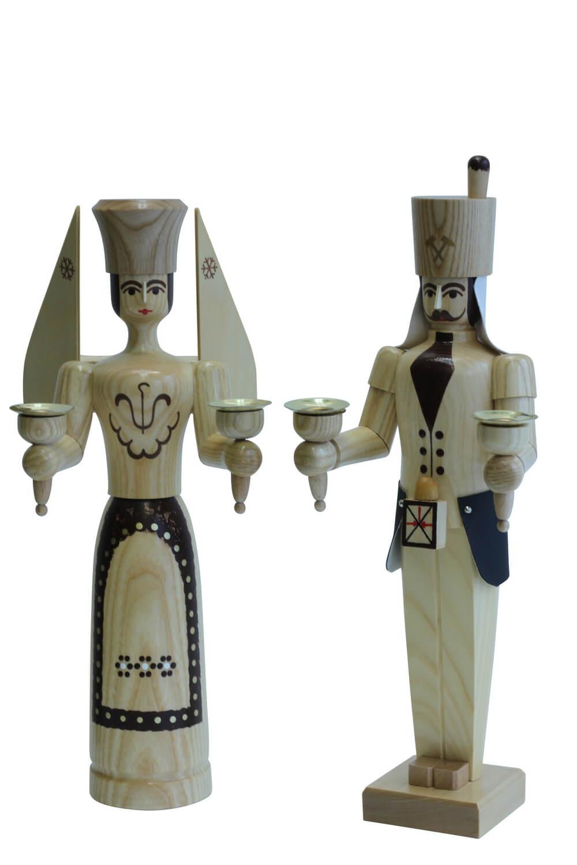 Engel und Bergmann aus Holz von Nestler-Seiffen, 38 cm, natur für Wachskerzen