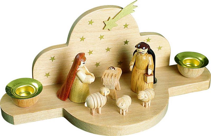 Weihnachtskerzenhalter Christi Geburt, 8 cm, Richard Glässer GmbH Seiffen/ Erzgebirge
