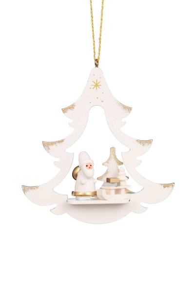 Christbaumschmuck von Christian Ulbricht Baum mit Weihnachtsmann, weiss, 6 Stück