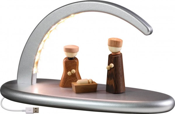 moderner, schlichter LED Schwibbogen in silber mit Christi Geburt