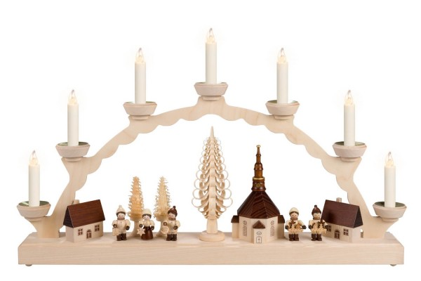 LED Schwibbogen von Nestler-Seiffen mit dem Motiv Seiffener Dorf mit Thiel Kinder, beleuchtet von Lumix LED Kerzen_Bild1