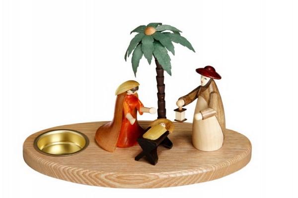 Weihnachtskrippe mit Teelicht und Heiliger Familie, 12 cm Größe ca. 12 cm, Figuren je 9 cm Beleuchtung: Teelichte Material: heimische Hölzer, hochwertige …