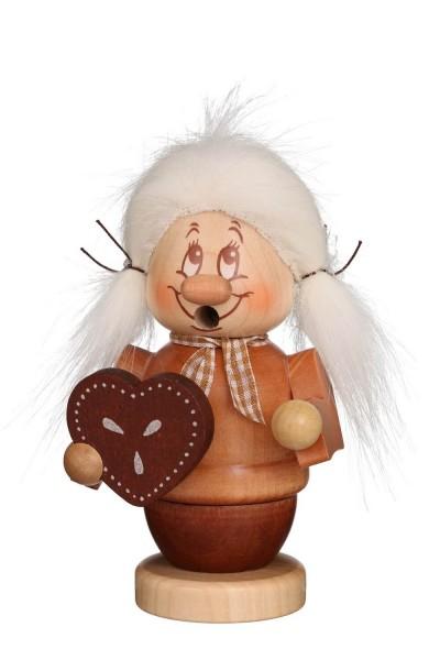 Räuchermännchen Miniwichtel Gretel mit der typischen Knubbelnase und dem freundlichen Gesicht von Christian Ulbricht GmbH & Co KG Seiffen/ Erzgebirge …