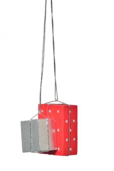 KWO Christbaumschmuck Pakete in rot und silber zum Hängen fürd den Weihnachtsbaum