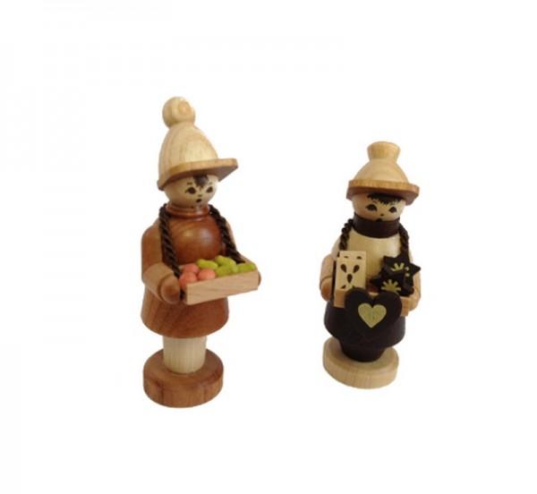 Markthändlerpaar, 6 cm, Spielwarenmacher Günther Seiffen/ Erzgebirge