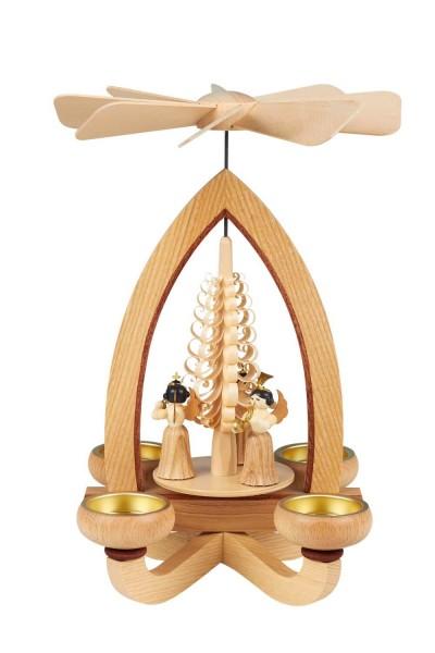 Teelichtpyramide mit Faltenrockengel, 28 cm hergestellt von Heinz Lorenz Olbernhau/ Erzgebirge_Bild1