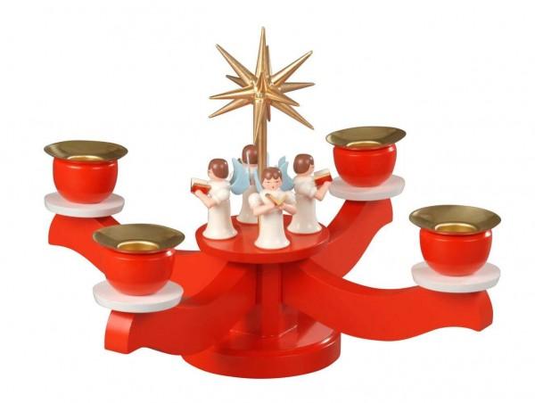 Albin Preißler Adventsleuchter 4 stehende Engeln, rot
