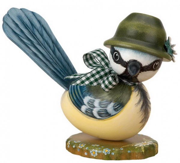 Blaumeise ausc Holz mit grünem Hut von Hubrig