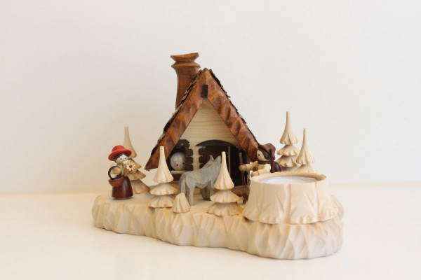 """Das Räucherhaus """"Rokäppchen und der Wolf"""" mit Teelicht und Romy Thiel Figuren von Holzdrechslerei A. Lahl Deutschneudorf/ Erzgebirge, ist ein …"""