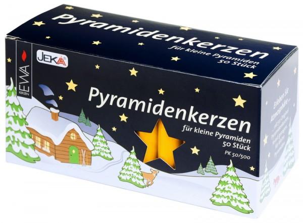Kerzen für Weihnachtspyramiden, gelb, 50 Stück
