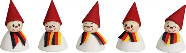 Deutsche Fan-Wippel mit Schal, farbig von Seiffener Volkskunst