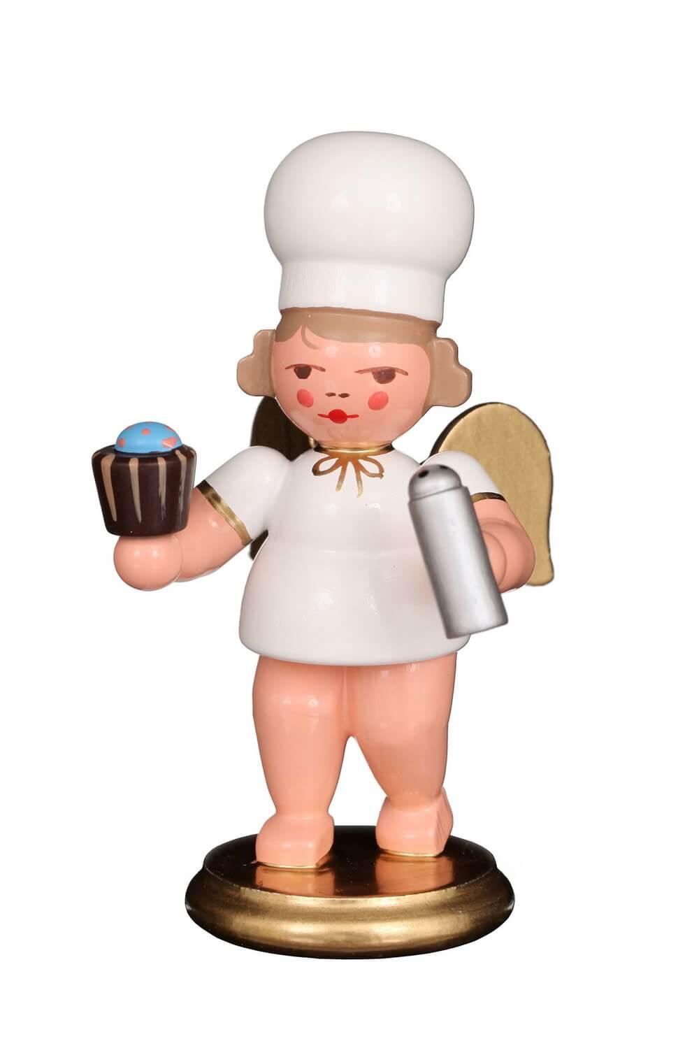 Weihnachtsengel - Bäckerengel mit Cupcake, 8 cm von Christian Ulbricht Seiffen/ Erzgebirge