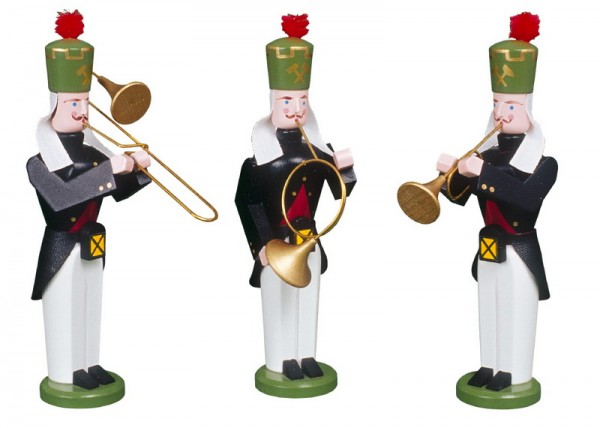 Original erzgebirgische Bergmanns Bläser Trio, handbemalt und in Handarbeit gefertigt, 13 cm von Volkskunstwerkstatt Eckert aus Seiffen/ Erzgebirge