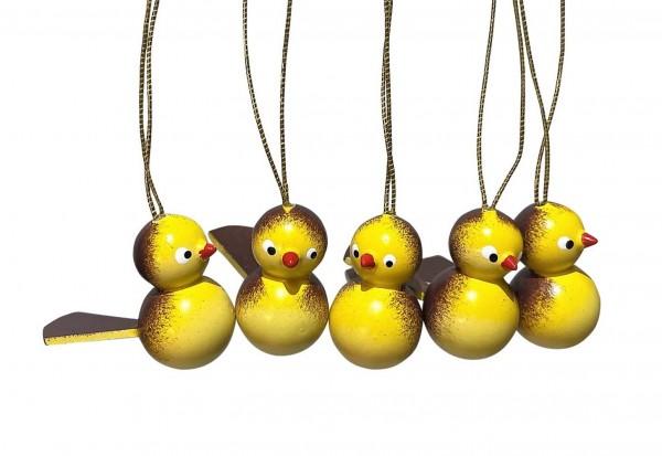 Vögel zum Hängen, 5 Stück, gelb/braun von Nestler-Seiffen_Bild1