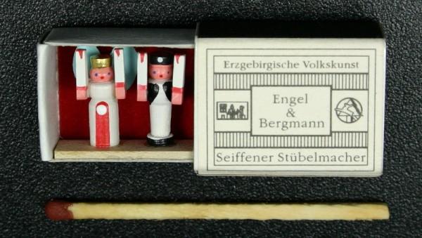 Mini - Zündholzschachtel Engel und Bergmann von Gunter Flath aus Seiffen / Erzgebirge Detailgetreue Nachbildung von Engel und Bergmann aus früheren Zeiten. …