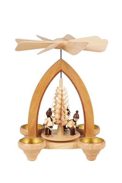 Weihnachtspyramide Wintersportler für Teelichter, 26 cm hergestellt von Heinz Lorenz Olbernhau/ Erzgebirge_Bild1