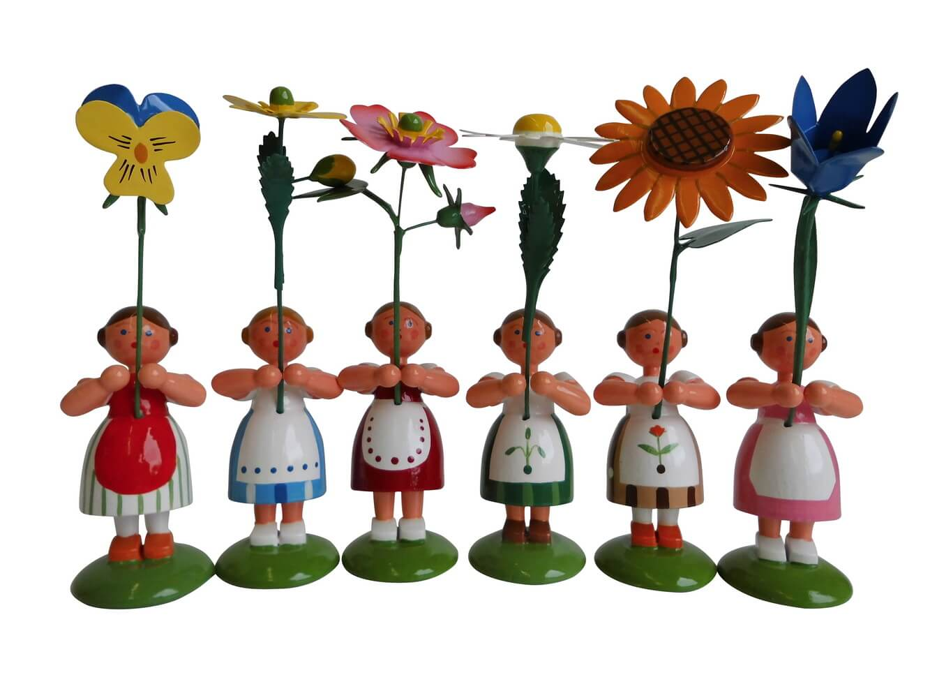Blumenkinder - Sommerblumenmädchen, 6 Stück, 11 cm von WEHA-Kunst Dippoldiswalde/ Erzgebirge