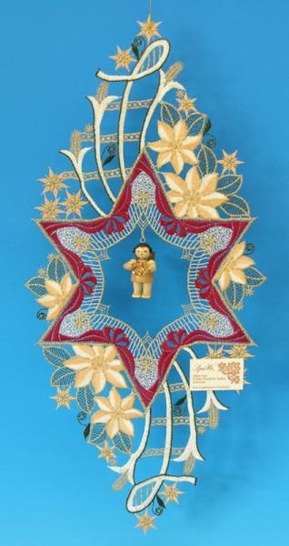 Fensterbild Plauener Spitze Stern, rot mit Christrosen und Weihnachtsengel mit Schellenring, natur, 48 x 22 cm, Frieder & André Uhlig Seiffen/ Erzgebirge