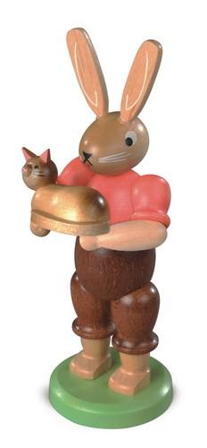 Osterhase mit Katze, farbig lasiert, 11 cm von Müller GmbH Kleinkunst aus dem Erzgebirge