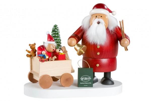 Räuchermännchen Jubiläumsedition Weihnachtsmann mit Kind, 19 cm von KWO Olbernhau/ Erzgebirge