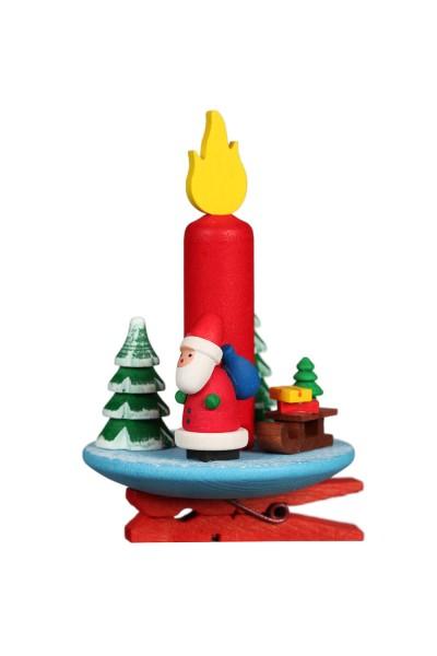 Christbaumschmuck Clipser Kerze mit Weihnachtsmann, 6 Stück, 5 x 7 cm von Christian Ulbricht Seiffen/ Erzgebirge
