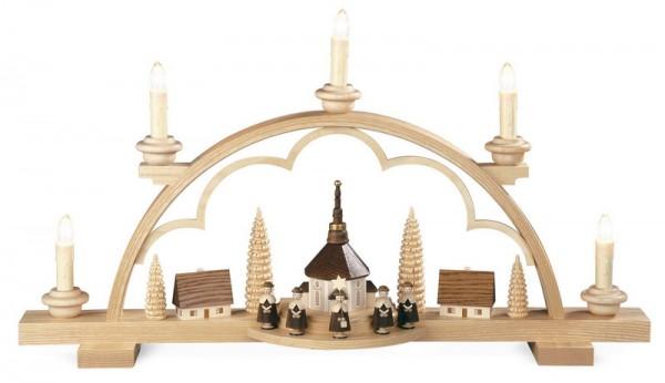Schwibbogen Kurrende mit kleinem Dorf, elektrisch beleuchtet,(230 V 50 Hz), 57 x 11 x 32 cm, Müller GmbH Kleinkunst aus dem Erzgebirge