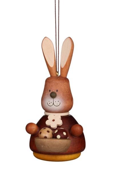 Wackelhase mit Eierkorb, natur, 10 cm, Christian Ulbricht GmbH & Co KG Seiffen/ Erzgebirge. Ein Nest mit bemalten Eiern bringt uns dieser naturfarbene …