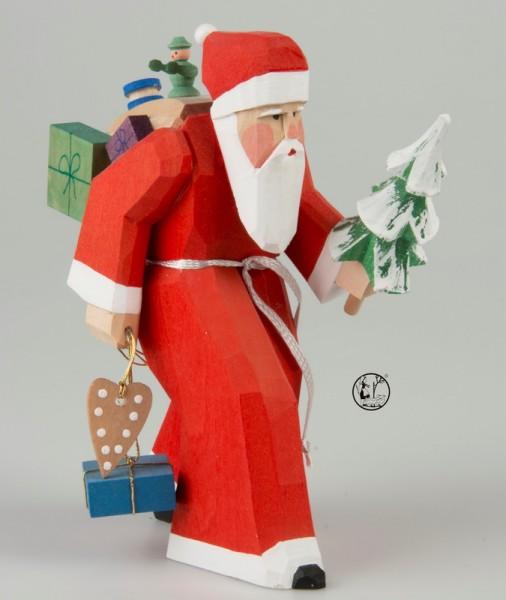 Holzschnitzerei Weihnachtsmann, 13 cm, Bettina Franke Deutschneudorf/ Erzgebirge