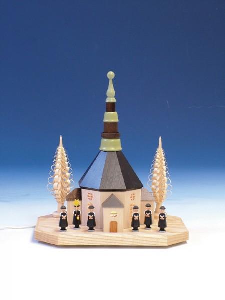 Sockelbrett Seiffener Kirche mit Kurrende, komplett elektrisch beleuchtet, 31 cm, Knuth Neuber Seiffen/ Erzgebirge