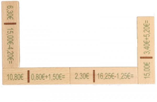 Rechendomino aus Holz, Euro, 40 Teile, 16 x 20 x 3 cm, Spielalter ab 3 Jahre, Erzgebirgische Holzspielwaren Ebert GmbH Olbernhau/ Erzgebirge