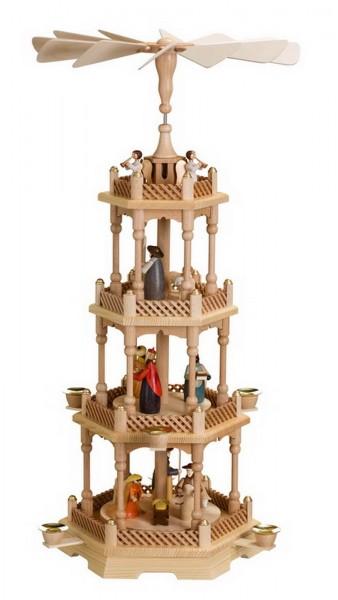 Weihnachtspyramide, 4 - stöckig mit Heiliger Familie, 66 cm. Auf der unteren Ebene dreht sich die Heilige Familie mit dem Kind auf der 2. Ebene drehen sich …