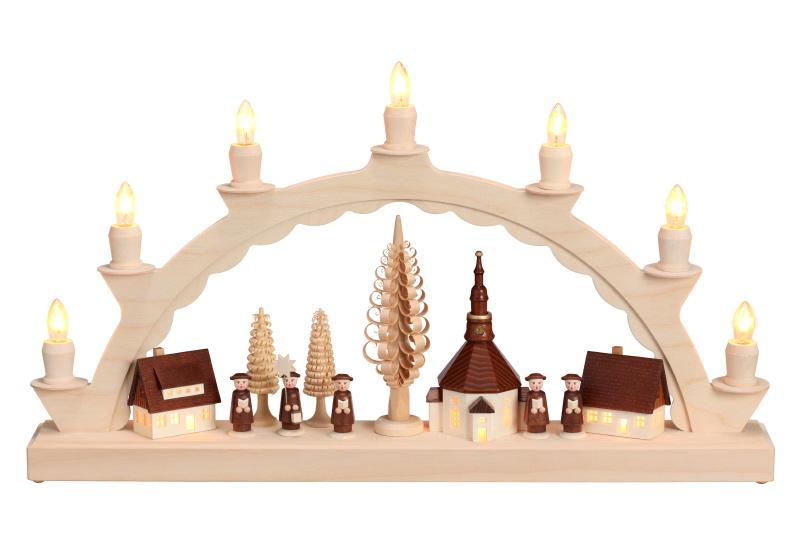 Schwibbogen Erzgebirge mit Kirche und Baum