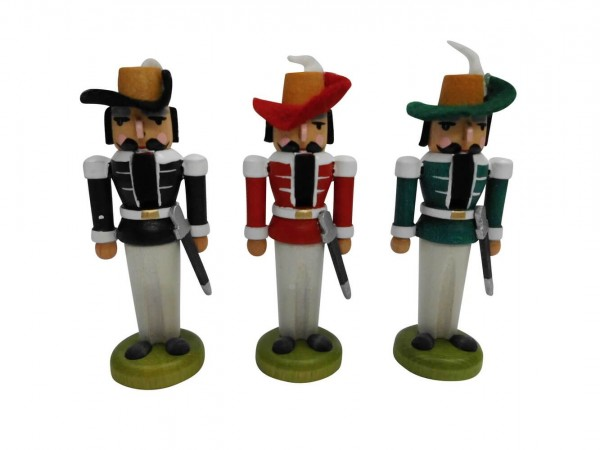 Miniaturnussknacker Musketier, 3 Stück, 7 cm, Seiffen/ Erzgebirge