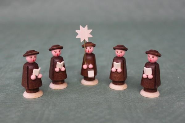 Weihnachtsfiguren Kurrende, braun, 5 Stück, 5 cm and 7 cm, Nestler-Seiffen.com OHG Seiffen/ Erzgebirge