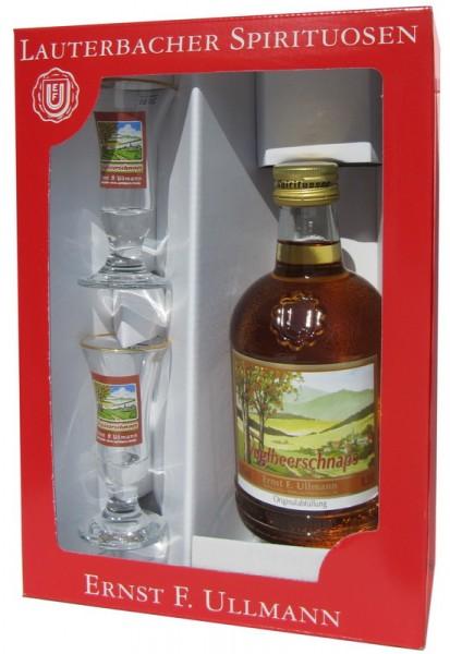 Vugelbeerschnaps von Ullmann, 0,35l, 32 % vol. und 2 Rittmeistergläser, Eine Spirituosenspezialität hergestellt aus dem Saft und Destillat der veredelten …