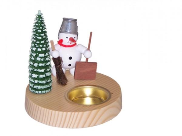 Teelichthalter Schneemann mit Schippe und Besen, farbig, 10 cm hergestellt von Volker Zenker