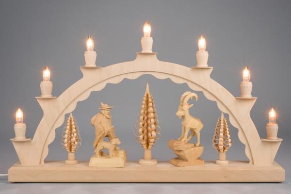 Schwibbogen mit geschnitzten Figuren Wilddieb/ Steinbock, natur, elektrisch beleuchtet, 50 x 28 cm, Nestler-Seiffen.com OHG Seiffen/ Erzgebirge